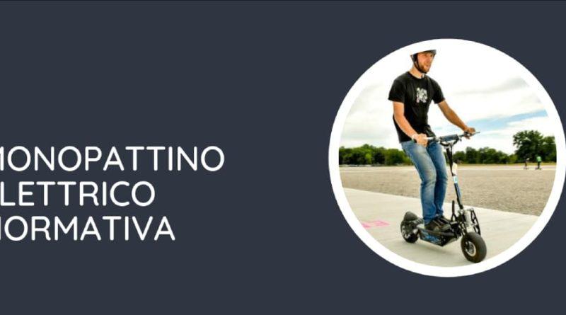 Scritta bianca a sinistra monopattino elettrico normativa ed immagine in un cerchio di un uomo che guida un monopattino elettrico su strada con casco a destra